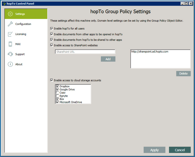 Working with the hopTo Work Control Panel in the Host Agent Version